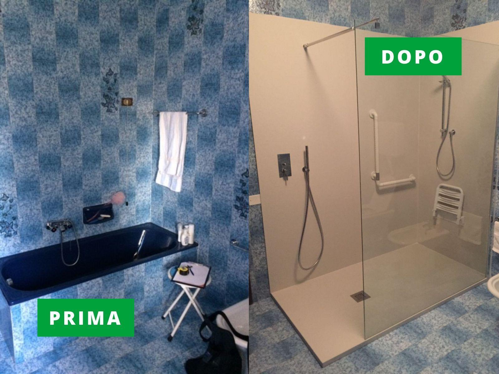 Trasformazione vasca da bagno con doccia per disabili ad Arzignano (Vicenza)